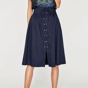 Zara Navy Lace Up Skirt With Metal Grommets